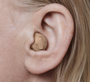 Half shell hearing aid shown in the ear